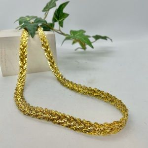 Vintage Statement Gold Braided Necklace 20 inches
